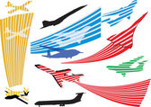 Stylize airplanes silhouettes collection isolated on white — Stock Vector