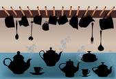 Black dishware illustration — Stock Vector