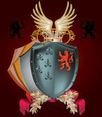 Shield with heraldic elements on dark — Vettoriale Stock