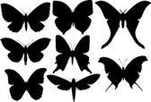 Set of eight butterfly wings shapes — Stock Vector