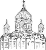 Orthodox church sketch on white background — Stock Vector