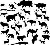 Twenty nine animal silhouettes collection — Stock Vector