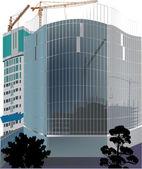 Blue skyscraper building illustration — Stock Vector