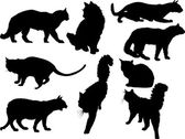 Nine isolated black cats — Vector de stock