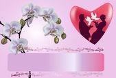 пара в сердце и орхидеи цветы — Cтоковый вектор