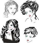 Four beautiful girl portraits — Stock Vector