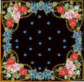 Marco con rosas en corazones — Vector de stock