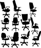 Eleven office chairs isolated on white — Stock Vector