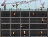 Wokers on building yard illustration — Stock Vector
