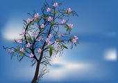 Spring blossom tree and blue sky — Vettoriale Stock