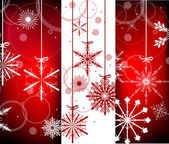 Red and white christmas snowflakes vertical bands — Stockvector