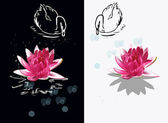 Pink lily flowers and swans — Stock Vector