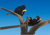 Monkeys on tree illustration — Stock Vector