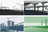Four street in monochrome industrial landscapes — Stock Vector