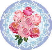 Pink roses round design on blue background — ストックベクタ