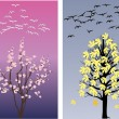 Stock Vector: Swans in spring and late autumn