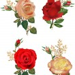 Stock Vector: Four rose flowers compositions isolated on white