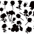 Large set of black roses — Stock Vector #34813707