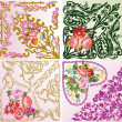 Set of four rose floral square decorations — Stock Vector #34815211