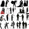Isolated wedding couples silhouettes set — Stock Vector