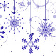 Background with blue snowflakes and circles — Stock Vector