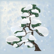 Pine tree in snow illustration — Stock Vector