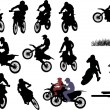 Isolated silhouettes of men on motorcycles — Stock Vector