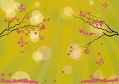 Cherry tree pink flowers silhouette on sunny background — Stock Vector