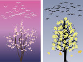 Swans in spring and late autumn — Stock Vector
