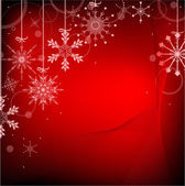 Red color background with snowflakes — Stock Vector