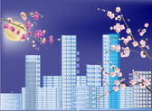 Pink flowers in blue spring city — Stock Vector