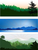 Three landscapes with forest — Stock Vector