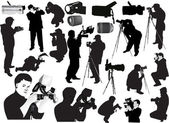 Illustration with photographers and equipment — Stock Vector