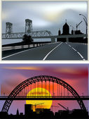 Two compositions with bridges in modern cities — Stock Vector