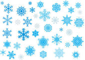 Thirty nine blue snowflakes — Vector de stock