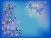 Blue and pink floral illustration with butterflies — Stockvector
