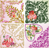 Set of four rose floral square decorations — Stock Vector