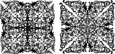 两个黑色白色衬底上的方形装饰 — 图库矢量图片