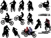 Isolated silhouettes of men on motorcycles — Vettoriale Stock