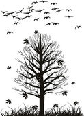 Swans and tree in late autumn — Stock Vector