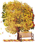 Large yellow fall tree and bench — Stock Vector