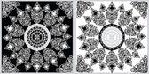 Iki kare beyaz ve siyah tasarımlar — Stok Vektör
