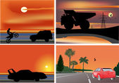 Four compositions with cars at sunset — Stock Vector