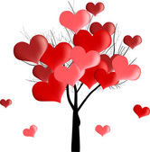 Red heart tree on white — Vector de stock