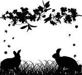 Rabbits under cherry tree flowers on white — Stock Vector