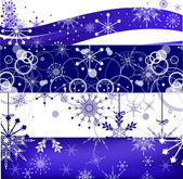 White and blue snowflakes bands — Vector de stock