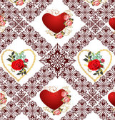 Red roses and hearts in decorated background — Διανυσματικό Αρχείο