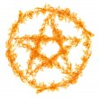 Orange flame pentagram isolated on white — Stock Photo