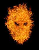 Orange flame mask isolated on black — Stock Photo
