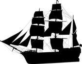 Big isolated black sailer — Stock Vector